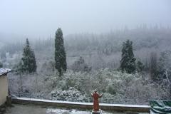 Monastero di Sargiano: il Chiostro grande sotto la neve