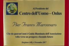 Targa commemorativa - 40° Anniversario della Fondazione del Centro dell'Uomo